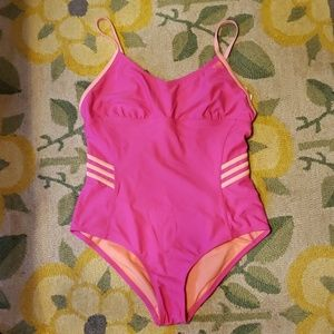 Adidas pink and orange one piece swimsuit
